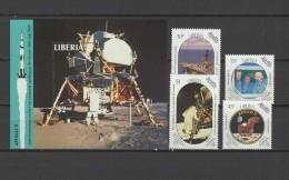 Liberia 1989 Space Apollo 20th Anniversary Moon Landing Set Of 4 + S/s MNH - Afrika