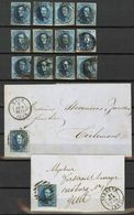 Mooi Lotje Met Gerande Zegels Nrs 7/fA + 2 Brieven Gand/Tirlemont 7oct 1859--Iseghem Met Zegel N°11 Naar Gent Ex SM - 1851-1857 Médaillons (6/8)