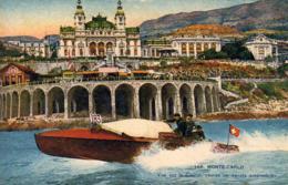 MONTE CARLO Vue Sur Le Casino  Course De Canots Automobiles - Monte-Carlo