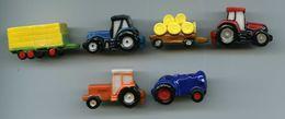 FEVES - FEVE -  LOT DE 6 ENGINS AGRICOLES - TRACTEURS ET  CHARGEMENTS - Santons/Fèves