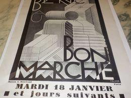 ANCIENNE PUBLICITE LE BLANC  GRAND MAGASIN AU BON MARCHE   1927 - Vintage Clothes & Linen