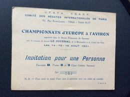 CHAMPIONNATS D'EUROPE à L'AVIRON Comité Des Régates Internationales De Paris  UFSFA-FSARP  Invitation  SURESNES 1931 - Aviron