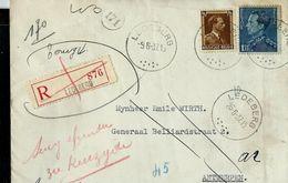 Doc. De LEDEBERG  Du 09/06/37 + étiquettes Verso En Rec. - Postmark Collection