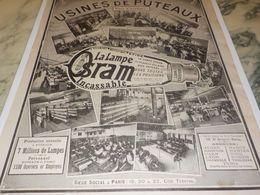 ANCIENNE PUBLICITE USINES DE PUTEAUX  LAMPE OSRAM 1913 - Autres