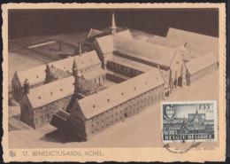 BELGIUM (1948) Achel Abbey. Maximum Card With First Day Cancel. Scott No B448. - 1934-1951