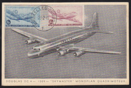 BELGIUM (1946) Douglas DC-4. Maximum Card With First Day Cancel. Scott Nos C8-9. - 1934-1951