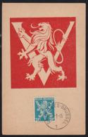 BELGIUM (1945) Lion Rampant. Maximum Card With First Day Cancel. Scott No 348. - 1934-1951