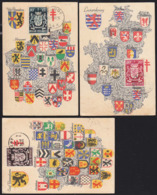 BELGIUM (1945) Coats Of Arms. Set Of 9 Maximum Cards With Thematic Cancels. Scott Nos B408-16. Some Toning Present. - 1934-1951