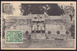 BELGIUM (1950) Arms Of Belgium & Britain. Maximum Card With First Day Cancel. Scott No B477. - 1934-1951