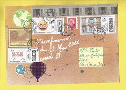 """Lettre Avec Montimbrenligne """" Volets Ouverts"""" Lettre Verte + Vignette COVID19 + 2 Spécimen L'Univers Du 11 05 2020 Scans - Poststempel (Briefe)"""