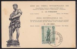 BELGIUM (1943) Blacksmith. Maximum Card With First Day Cancel. Scott No B347. - 1934-1951