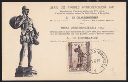 BELGIUM (1943) Coppersmith. Maximum Card With First Day Cancel. Scott No B348. - 1934-1951