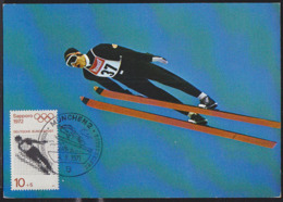 GERMANY (1971) Ski Jump. Maximum Card With Thematic Cancel. Scott No B472, Yvert No 544. Sapporo Olympics. - Cartas Máxima
