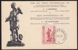 BELGIUM (1943) Armsmith. Maximum Card With First Day Cancel. Scott No B350. - 1934-1951