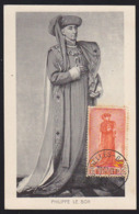 BELGIUM (1949) Philip The Good. Maximum Card With First Day Cancel. Scott No B472. - 1934-1951