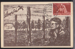 BELGIUM (1945) Prisoner Of War. Maximum Card With First Day Cancel. Scott No B403. - 1934-1951