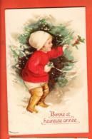 DUA-38 Bonne Année, Enfant Ramassant Du Houx. Gaufré Geprägt. Mode.  Circulé 1922 - Año Nuevo