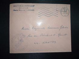 LETTRE OBL.MEC.3-6 1970 POSTE AUX ARMEES DIRECTION DE L'INTENDANCE De La 3e R.M. RENNES (35) INTENDANCE P.F. BEGUINET - Postmark Collection (Covers)