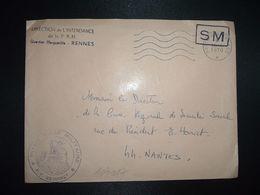 LETTRE OBL.MEC.30-6 1970 POSTE AUX ARMEES DIRECTION DE L'INTENDANCE De La 3e R.M. RENNES (35) INTENDANCE P.F. BEGUINET - Postmark Collection (Covers)