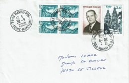 2000 - Lettre Du Havre Pour Le Tilleul - 4 Tp Sabine De Gandon N° 1966 + Coty N° 1412 + Tours N° 2370 - 1961-....
