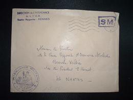 LETTRE OBL.MEC.30-10 1970 POSTE AUX ARMEES DIRECTION DE L'INTENDANCE De La 3e R.M. RENNES (35) INTENDANCE P.F. BEGUINET - Postmark Collection (Covers)