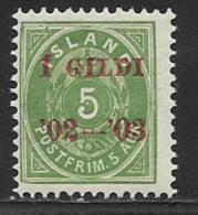 Iceland Scott # 45 MNH Numeral Overprinted,1902 - Nuevos