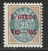 Iceland Scott # 48 MNH Numeral Overprinted,1902 - Nuevos