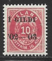 Iceland Scott # 54 MNH Numeral Overprinted,1902 - Nuevos