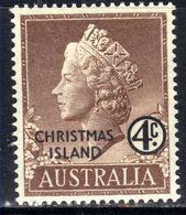 Christmas Island Australia 1958 QE2 4ct Brown Umm SG 2 ( R456 ) - Christmas Island