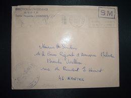 LETTRE OBL.MEC.19-4 1971 POSTE AUX ARMEES DIRECTION DE L'INTENDANCE De La 3e R.M. RENNES (35) INTENDANCE P.F. BEGUINET - Postmark Collection (Covers)