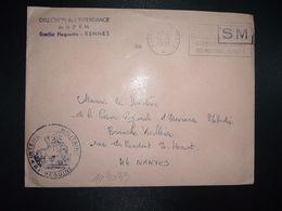 LETTRE OBL.MEC.13-5 1971 POSTE AUX ARMEES DIRECTION DE L'INTENDANCE De La 3e R.M. RENNES (35) INTENDANCE P.F. BEGUINET - Postmark Collection (Covers)