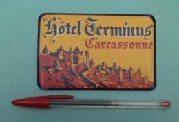 009 Etiquette D'Hotel, France Carcassonne - Hotel Terminus - Etiquettes D'hotels