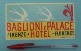 020 Etiquette D'Hotel, Italy Baglioni E Palace Hotel Firenze Florence - Etiquettes D'hotels