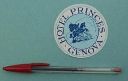021 Etiquette D'Hotel, Italy Genova Hotel Princes - Etiquettes D'hotels