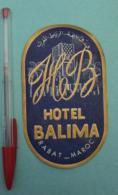 031 Etiquette D'Hotel, Maroc Rabat - Hotel Balima - Etiquettes D'hotels