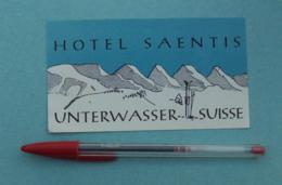 038 Etiquette D'Hotel, Suisse Hotel Saentis - Unterwasser - Etiquettes D'hotels