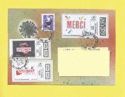 "Lettre Avec Montimbrenligne "" Merci Lettre Verte + Vignette COVID19 + 2 Spécimen Du 02 06 2020 + Danseuses + Univers + - Postmark Collection (Covers)"