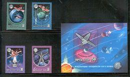 USSR/RUSSIA 1978 Space Exploration And The Intercosmos Program; Scott Catalogue No(s).4665-4668, 4669 Souvenir Sheet MNH - Raumfahrt
