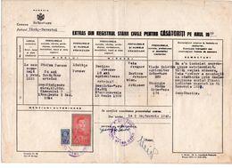 1943 ROMANIA, SATU-MARE, MARRIAGE CERTIFICATE, 2 REVENUE STAMPS - Covers & Documents