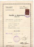 1937 KINGDOM OF YUGOSLAVIA,SLOVENIA,CITIZENSHIP CERTIFICATE MARIBOR LEFT BANK,ST. ILJ V SLOV GOR,1 STATE REVENUE STAMPS - Storia Postale