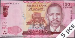 TWN - MALAWI 65c - 100 Kwacha 1.1.2017 DEALERS LOT X 5 - Prefix BG UNC - Malawi