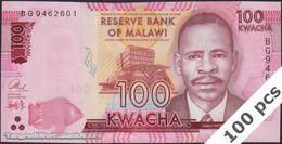 TWN - MALAWI 65c - 100 Kwacha 1.1.2017 DEALERS LOT X 100 - Prefix BG UNC - Malawi