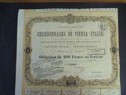 ITALIE - CIE FRANCAISE DES CHARBONNAGES DE PIENZA - OBLIGATION DE 200 FRS - PARIS 1876 - Shareholdings