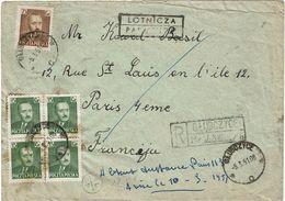 CTN63/ETR - POLOGNE LETTRE  AVION RECOMMANDEE A DESTINATION DE PARIS - 1944-.... Republic