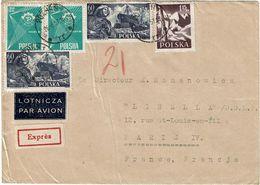CTN63/ETR - POLOGNE LETTRE  AVION EXPRES A DESTINATION DE PARIS - 1944-.... Republic