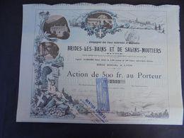 FRANCE - LYON 1894 - EAUX MINERALES ET THERMALES, BRIDES LES BAINS ET SALINS-MOUTIERS - ACTION 500 FRS - Shareholdings