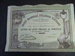 FRANCE - 71 - AZE, 1908 - STE MACONNAISE D'ECLAIRAGE ELECTRIQUE - ACTION DE 100 FRS - PEU COURANT - Shareholdings