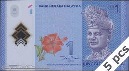 TWN - MALAYSIA 51 - 1 Ringgit 2011 DEALERS LOT X 5 - Polymer - Prefix JK  - Signature: Zeti Aziz UNC - Malaysie