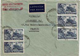 CTN63/ETR - POLOGNE LETTRE  AVION A DESTINATION DE PARIS - 1944-.... Republic