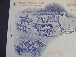 FACTURE - 27 - DEPARTEMENT DE L'EURE - BEUZEVILLE 1916 - POMMES, POIRES, BEURRE ET OEUFS : A.GRENTE - Frankrijk